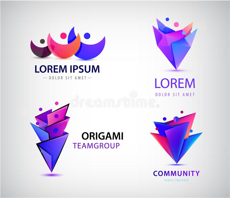 Ensemble de vecteur de logos d'hommes d'hommes de l'origami 3d Concept de la famille, humain, travail d'équipe, les gens ensemble illustration de vecteur