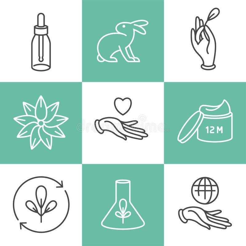 Ensemble de vecteur de logos, insignes et icônes pour les produits faits main écologiques naturels, cosmétiques organiques, vegan illustration stock