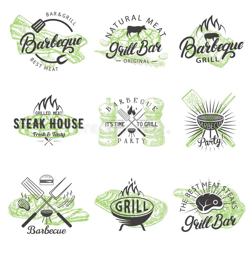Ensemble de vecteur de logos de labels d'insignes de BBQ de cru illustration de vecteur