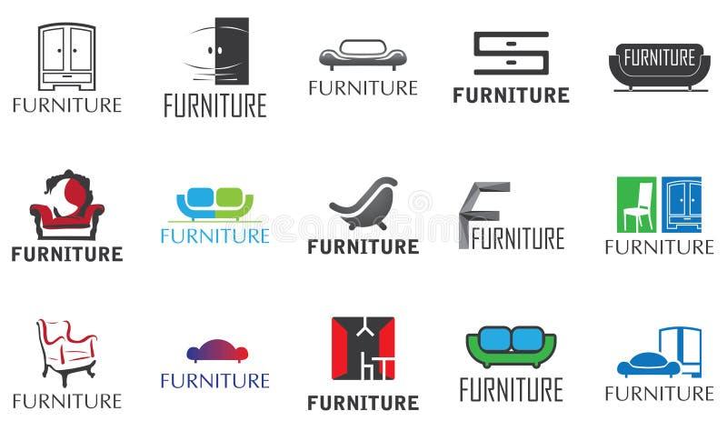 Ensemble de vecteur de logos pour le magasin de meubles illustration stock