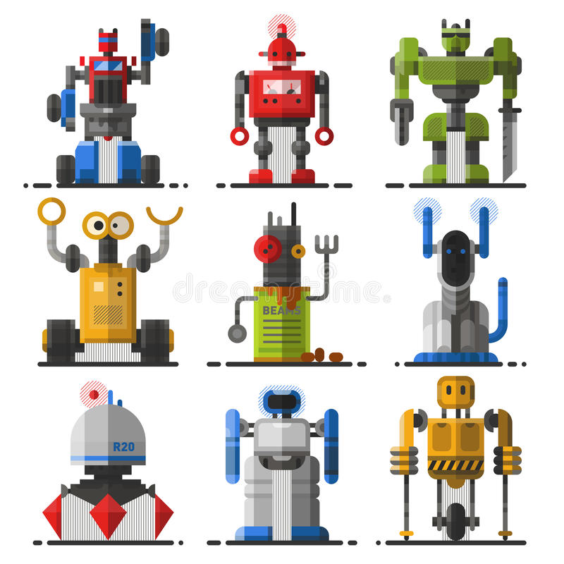 Download Ensemble De Vecteur Mignon De Robots De Vintage Illustration de Vecteur - Illustration du graphisme, fiction: 77161215