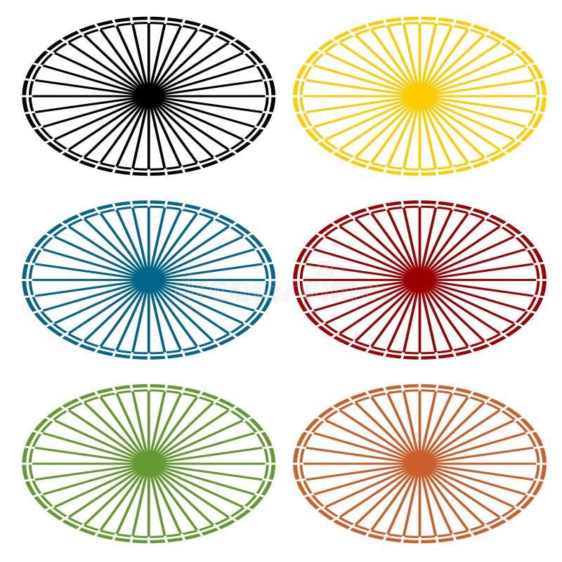 Ensemble de vecteur de milieux ovales multicolores avec des rayons Élément plat simple de conception pour des icônes ou d'autres  illustration libre de droits
