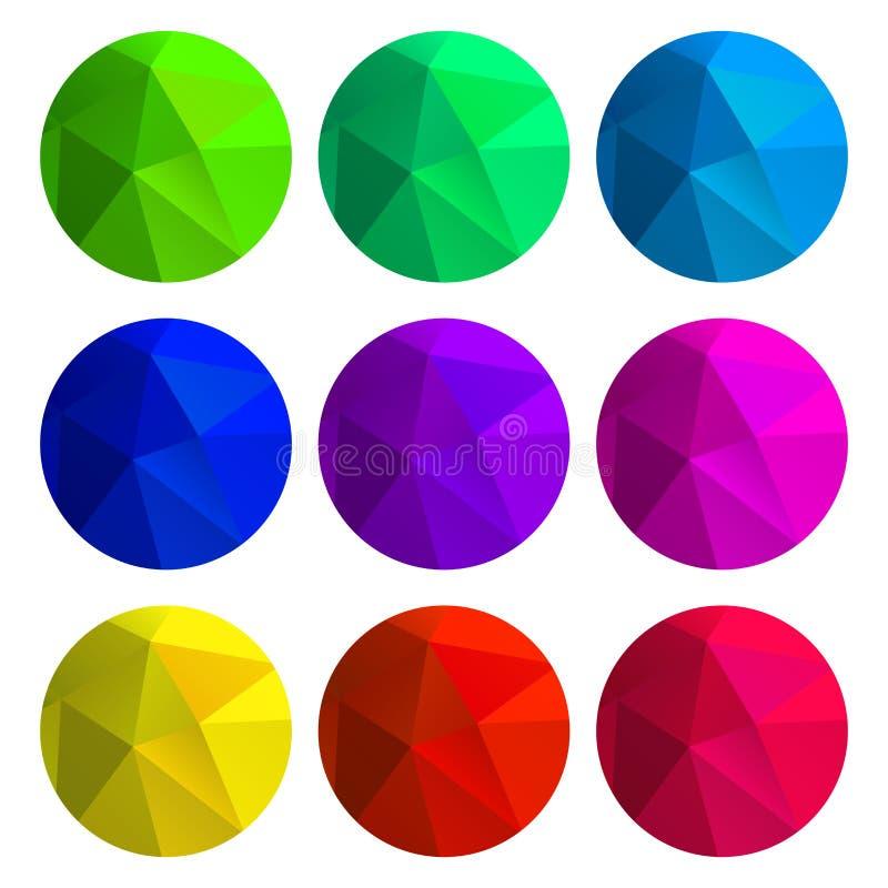 Ensemble de vecteur de milieux polygonaux ronds de gradient de vert-bleu illustration stock