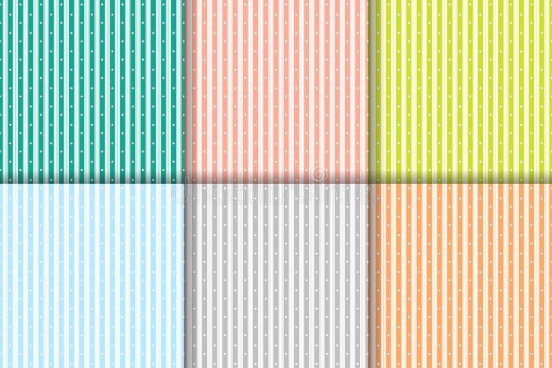 Ensemble de vecteur de modèle sans couture des rayures colorées verticales et des points blancs illustration libre de droits