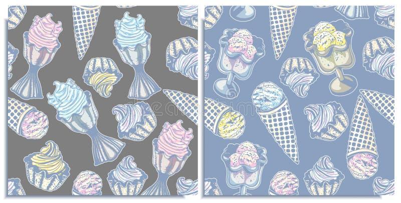 Ensemble de vecteur de modèles sans couture avec autocollants merveilleux de crème glacée de cône de boules, baie, crème glacée d illustration de vecteur