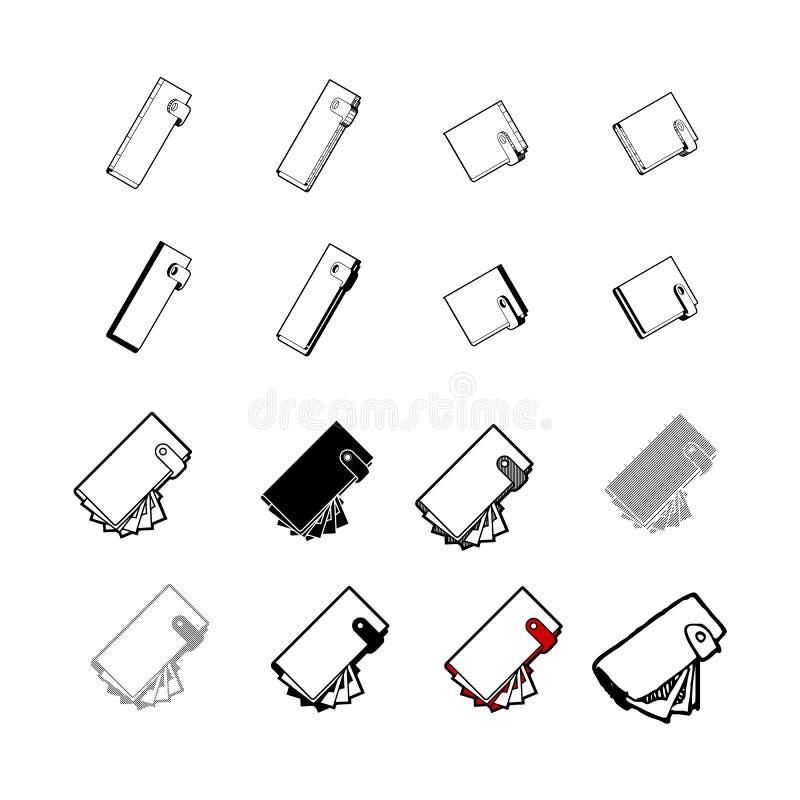 Ensemble de vecteur moderne de collection Le type multi d'icône de portefeuille de 3d est illustration libre de droits