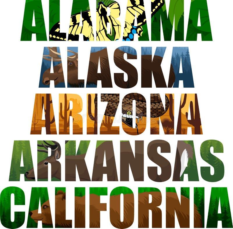 Ensemble de vecteur de mot d'états américains avec des animaux - Alabama, Alaska, Arizona, Arkansas, la Californie illustration libre de droits