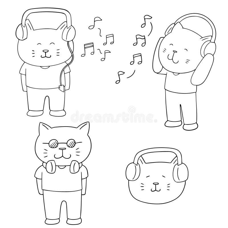Ensemble de vecteur de musique de écoute de chat illustration stock