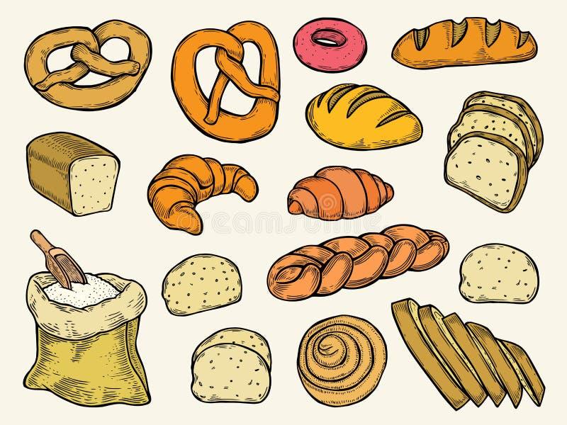 Ensemble de vecteur de pain illustration stock