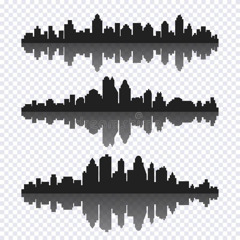 Ensemble de vecteur de paysage urbain horizontal noir différent avec le reflecti illustration de vecteur