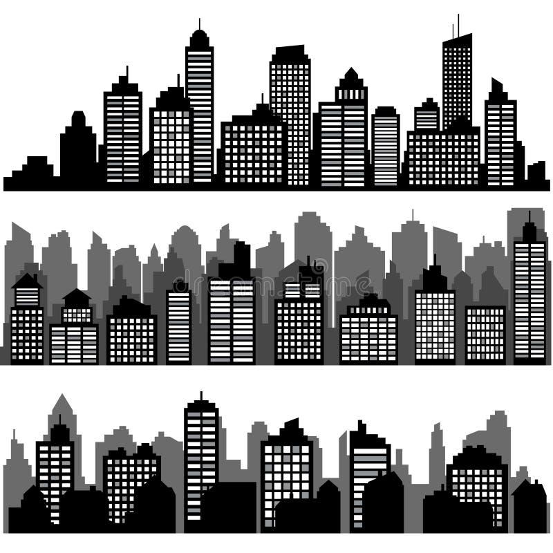 Ensemble de vecteur de paysage urbain horizontal noir différent de nuit illustration stock