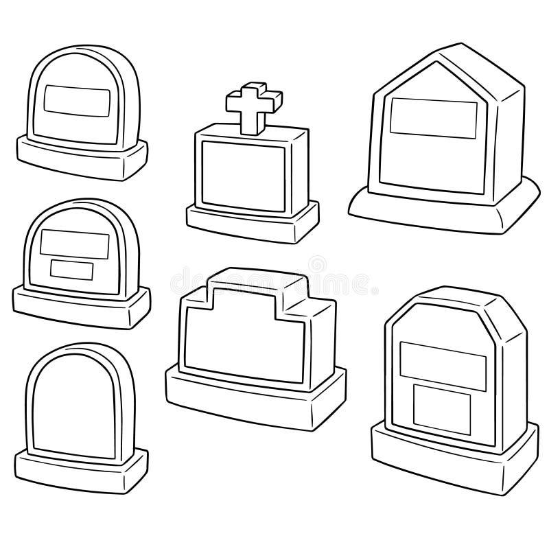 Ensemble de vecteur de pierre tombale illustration stock