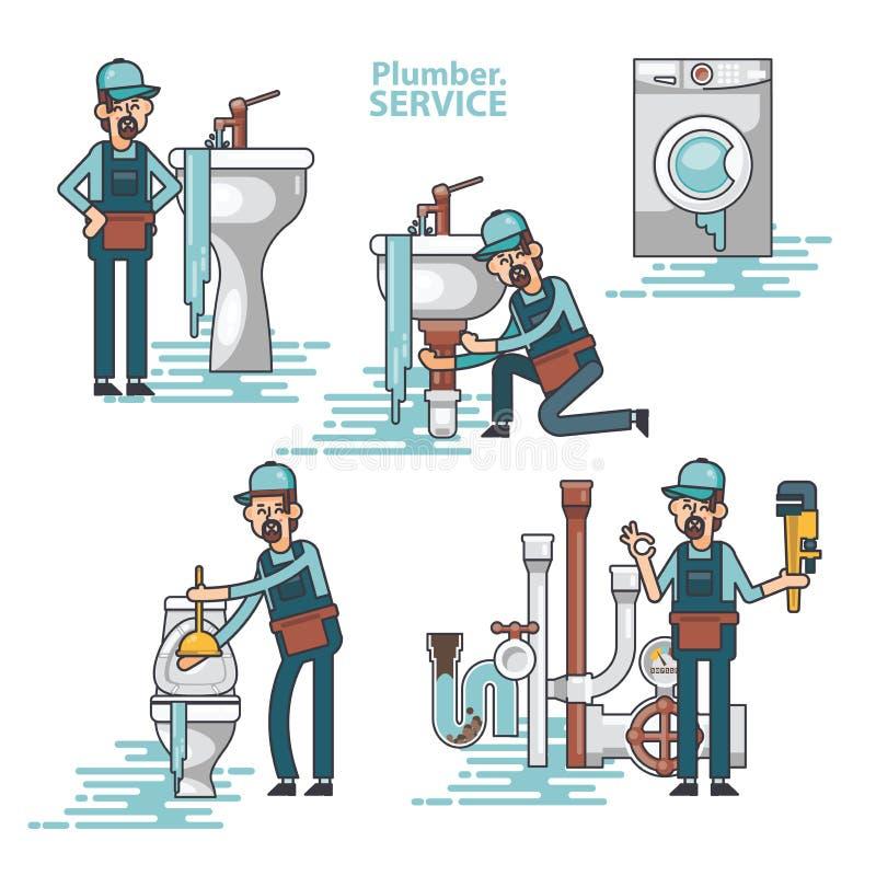 Ensemble de vecteur de plombiers professionnels réparant les équipements à la maison cassés, lavabo, toilette, cabine, machine à  illustration libre de droits