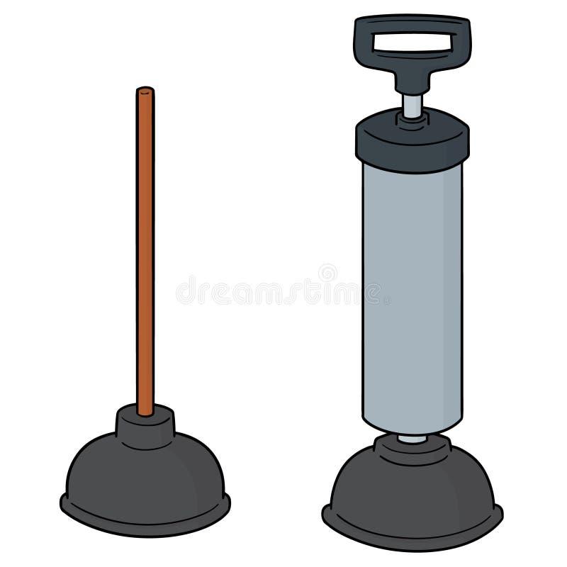Ensemble de vecteur de pompe en caoutchouc de toilette illustration de vecteur