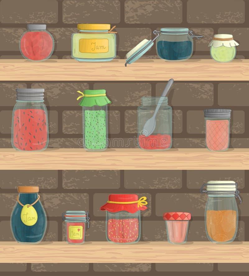 Ensemble de vecteur de pots colorés de confiture sur des étagères avec le fond de brique illustration stock