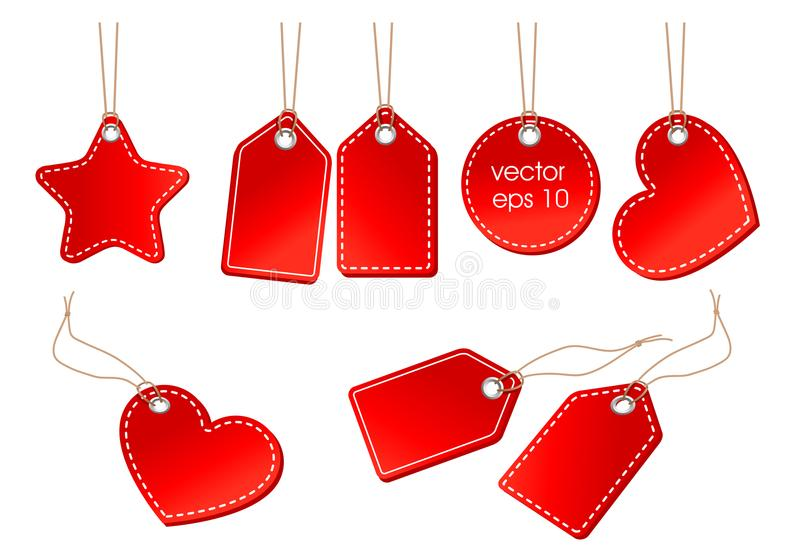Ensemble de vecteur de prix à payer rouges lumineux sur une corde illustration stock