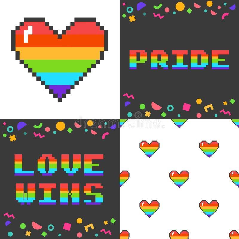 Ensemble de vecteur de quatre 8 affiches mordues de l'art LGBT de pixel illustration libre de droits