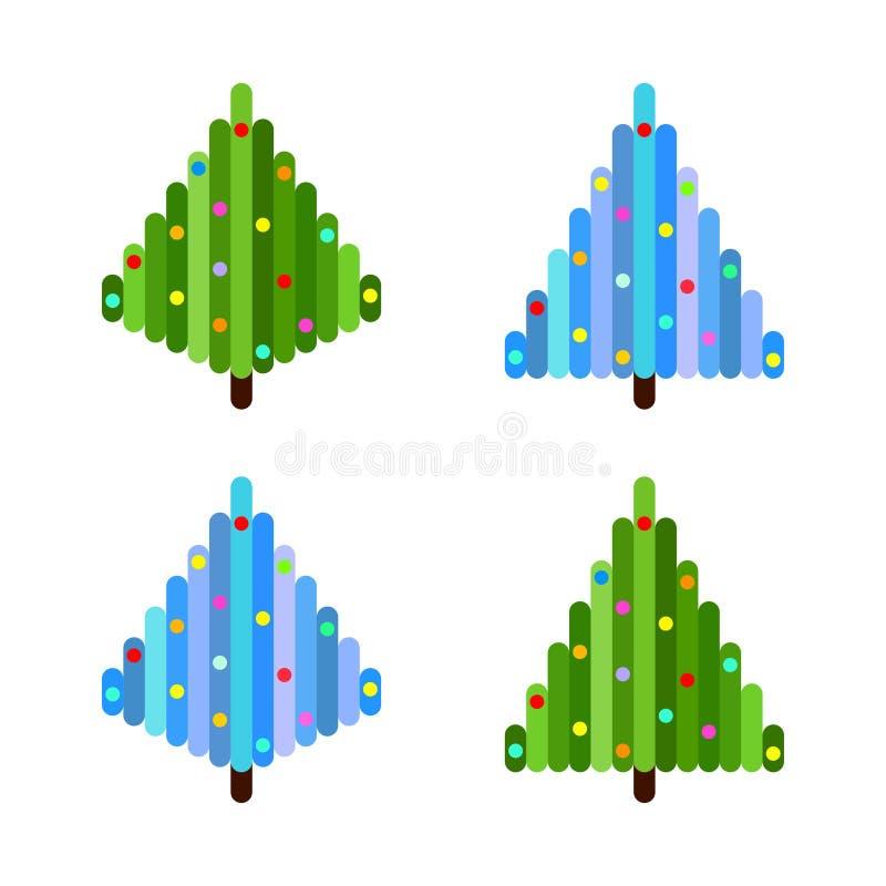 Ensemble de vecteur de quatre arbres de Noël d'art de pixel Conception plate illustration stock