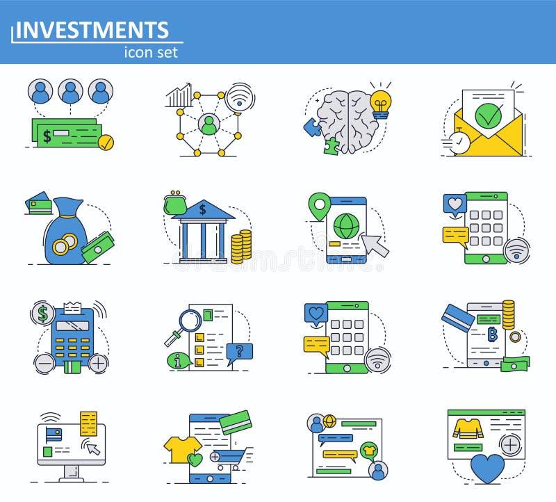 Ensemble de vecteur de services numériques d'argent, de finances et d'icônes de banque dans la ligne style mince Paiements d'inve illustration libre de droits
