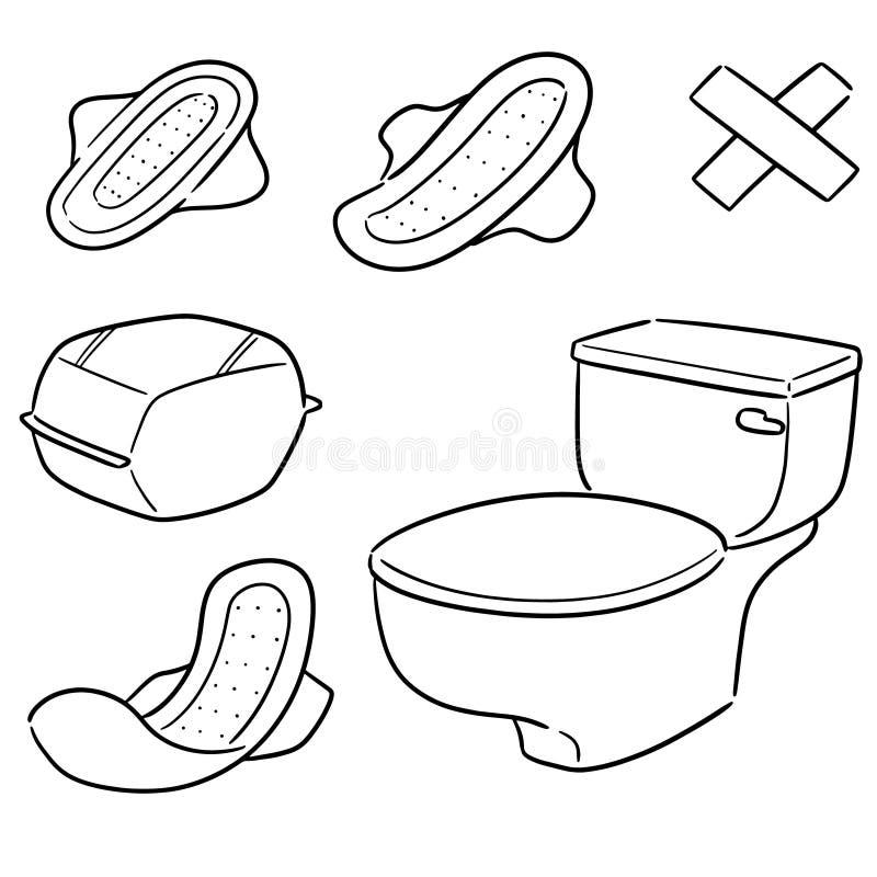 Ensemble de vecteur de serviette hygiénique illustration stock