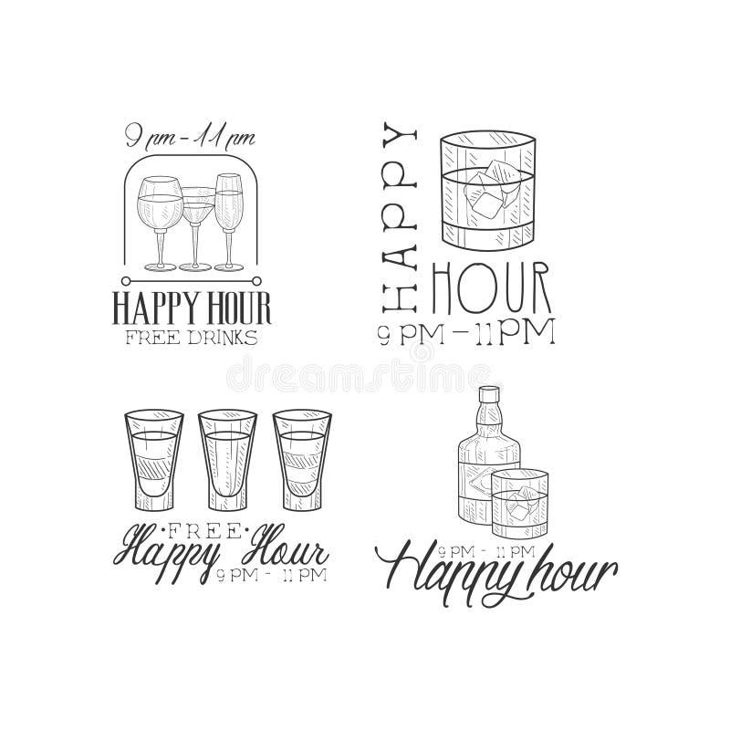 Ensemble de vecteur de 4 signes de promotion pour la barre de cocktail Calibres noirs et blancs tirés par la main de logo avec di illustration de vecteur