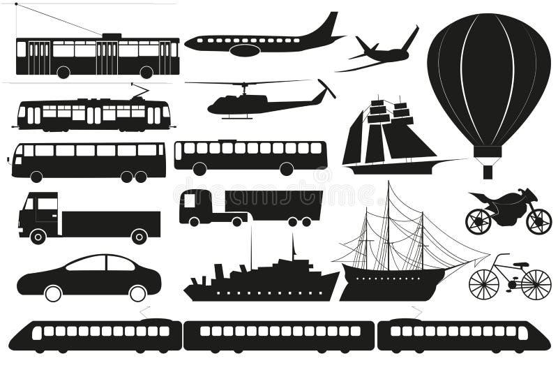 Ensemble de vecteur de silhouettes abstraites de transport illustration stock