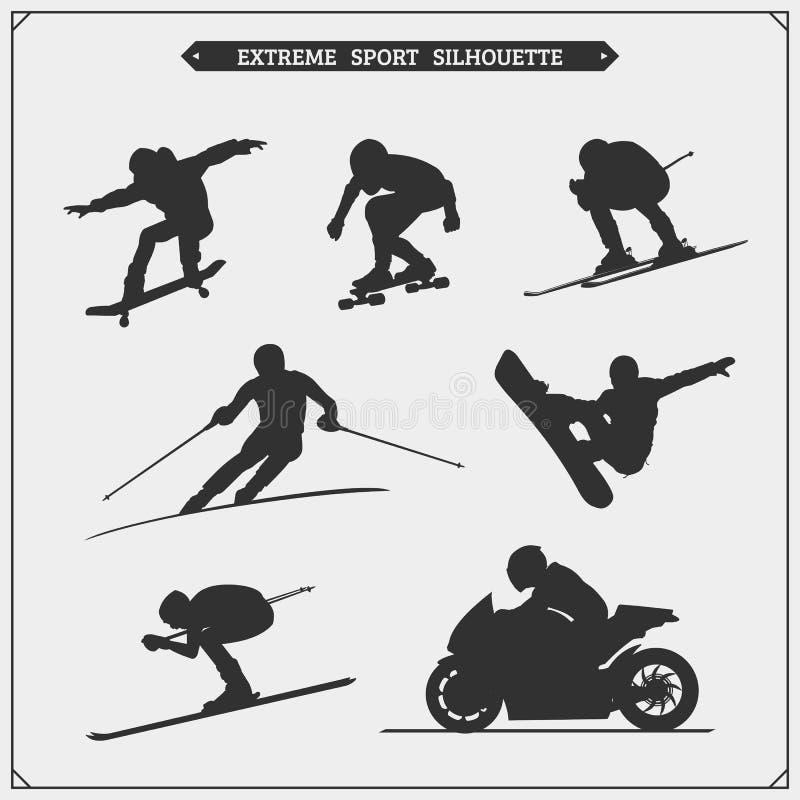 Ensemble de vecteur de silhouettes de joueurs de sport Sport d'hiver illustration de vecteur