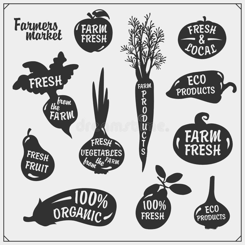 Ensemble de vecteur de silhouettes de légumes d'isolement sur le fond blanc Icônes du marché d'agriculteurs illustration libre de droits