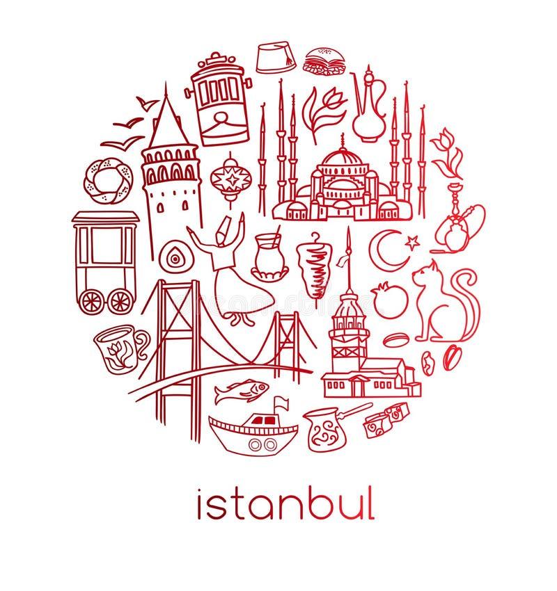 Ensemble de vecteur de symboles d'Istanbul d'isolement sur le blanc en composition en cercle illustration stock