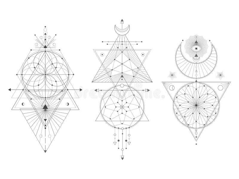 Ensemble de vecteur de symboles géométriques sacrés sur le fond blanc illustration libre de droits