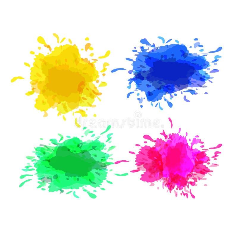 Ensemble de vecteur de taches colorées sur le fond blanc illustration stock
