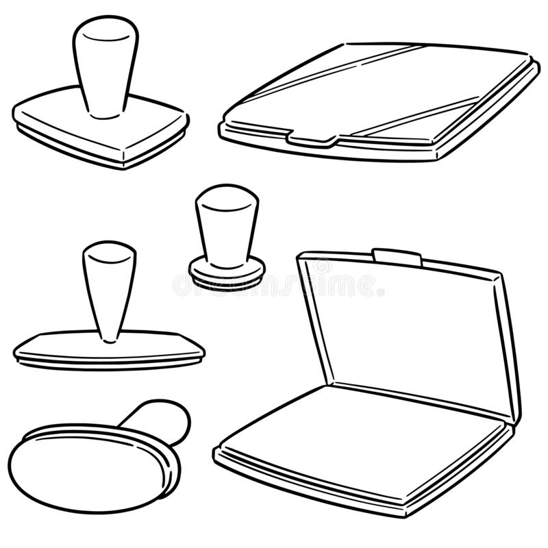 Ensemble de vecteur de tampon en caoutchouc illustration stock