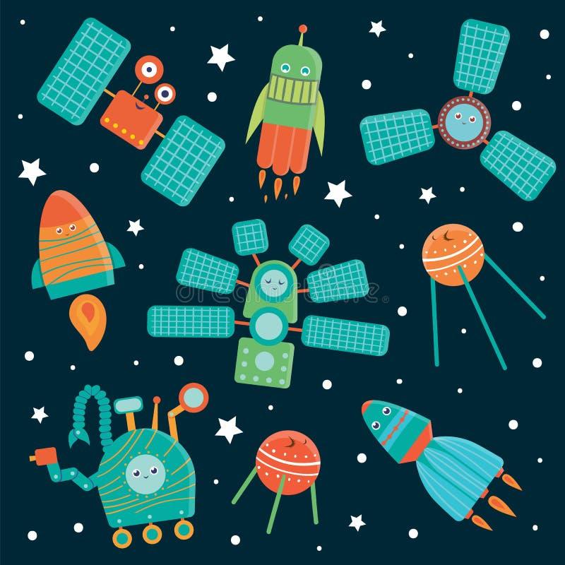 Ensemble de vecteur de techniques de l'espace pour des enfants illustration libre de droits
