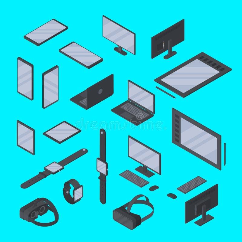 Ensemble de vecteur de technologie isométrique d'instruments d'isolement Montre intelligente, comprimé graphique, smartphone, ver illustration de vecteur