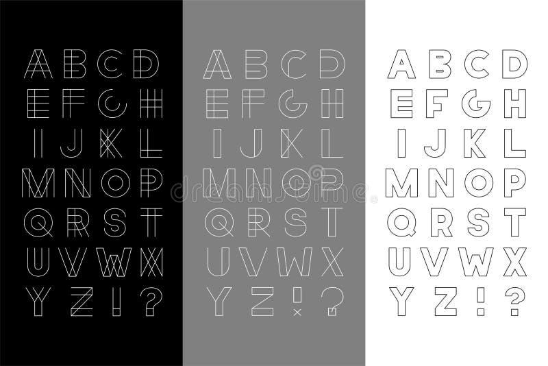 Ensemble de vecteur de trois alphabets anglais à la mode - polices modernes minimalistic Lettres latines élégantes illustration stock