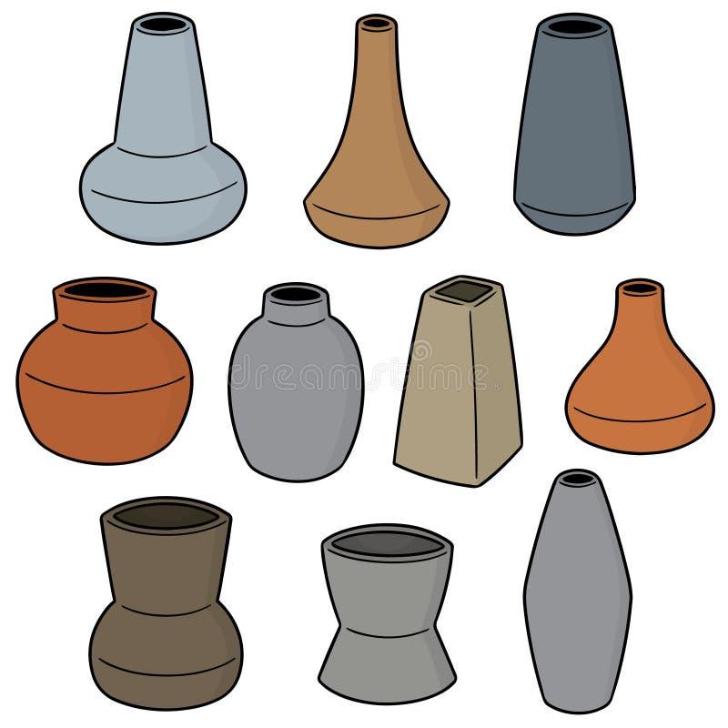 Ensemble de vecteur de vase illustration de vecteur