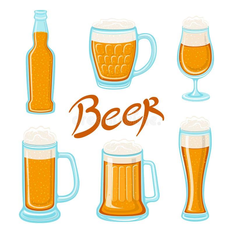 Ensemble de vecteur de verre de bière, de tasse, de baril, de bouteille, et d'houblon Conception de calligraphie de bière de méti illustration stock