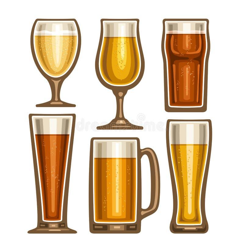 Ensemble de vecteur de verrerie différente de bière illustration stock