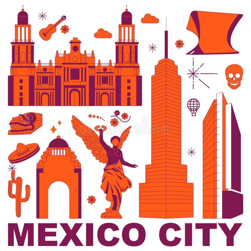 Ensemble de vecteur de voyage de culture de Mexico illustration stock