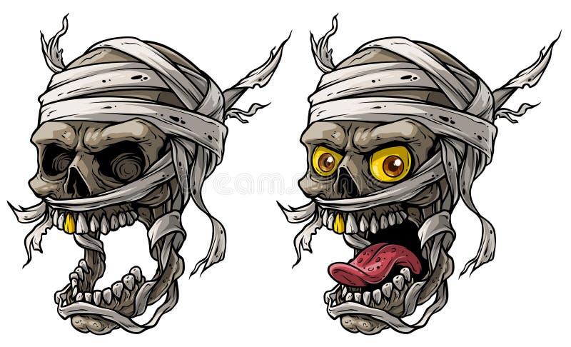 Ensemble de vecteurs de crânes de momie effrayants illustration stock
