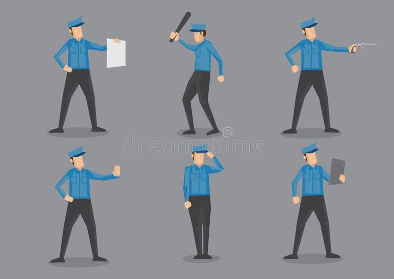 Ensemble de Vector Character Illustration de policier illustration de vecteur