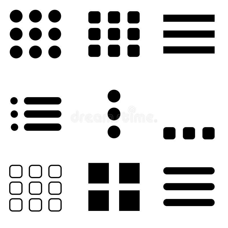 Ensemble de vectoriels d'icône du menu Hamburger pour la navigation et les barres d'action, illustration pour le site Web illustration libre de droits