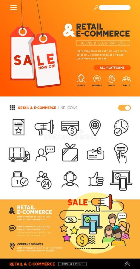 Ensemble de vente au détail et de commerce illustration libre de droits