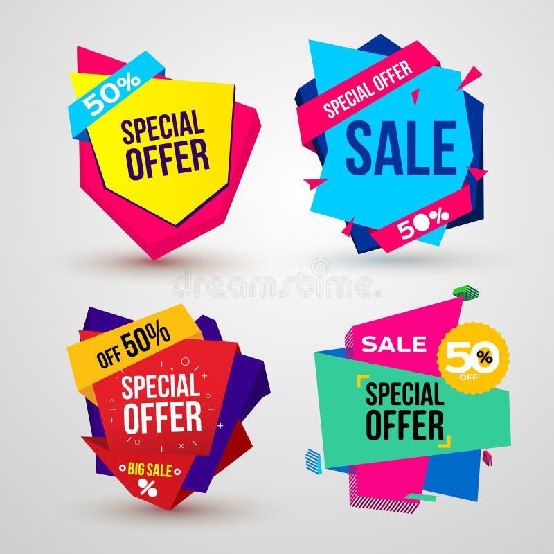 Ensemble de vente, bannière d'offre spéciale, jusqu'à 50%  Illustration de vecteur D'isolement sur le fond blanc illustration de vecteur