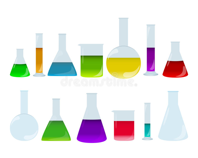 Ensemble de verrerie de laboratoire avec les liquides colorés Groupe d'accessoires de chimie Plats d'examen médical illustration de vecteur