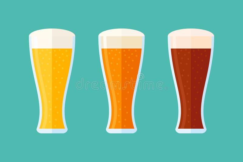 Ensemble de verres avec de la bière Bannière horizontale de style plat Illustration de vecteur illustration de vecteur