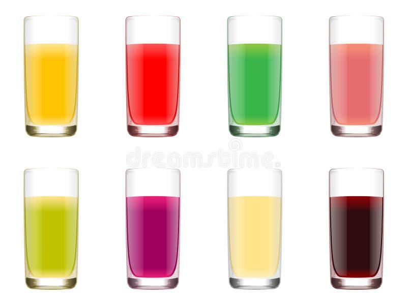 Ensemble de verres avec du jus des fruits de différentes couleurs illustration de vecteur