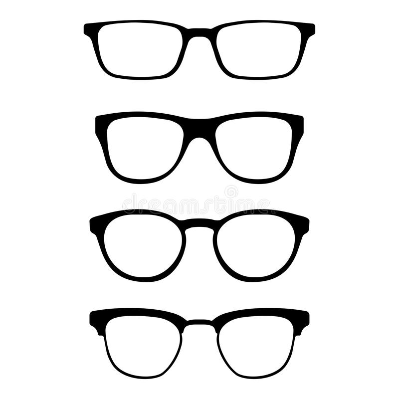 Ensemble de verres d'isolement sur le fond blanc Icônes modèles en verre de vecteur Silhouettes de lunettes de soleil Diverses fo illustration de vecteur
