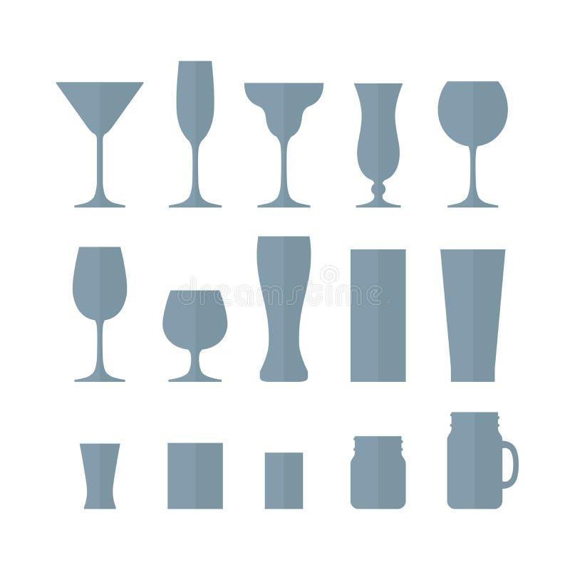 Ensemble de verres vides d'alcool différent Graphisme en verre 60a réglé illustration libre de droits