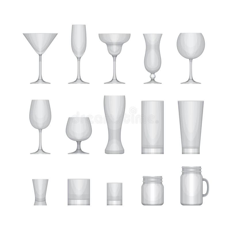 Ensemble de verres vides d'alcool différent Graphisme en verre 60a réglé illustration stock